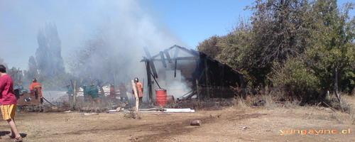 Incendio en Sector Los Nogales, Yungay