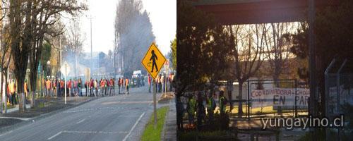 Movilización de Paro de Trabajadores Asociados a la Confederación Nacional de Trabajadores Forestales de Chile en Plantas de Yungay