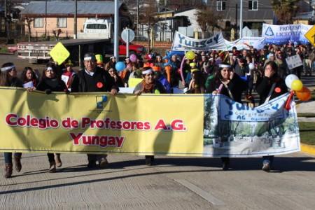 Profesores de Yungay Realizan Marcha y Acto Manteniendo Movilización