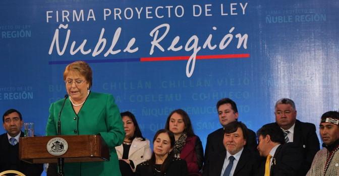 Alcalde de Yungay y Concejales  Participan en Ceremonia del Proyecto de Ley Ñuble Región Firmada Por la Presidenta Michelle Bachelet