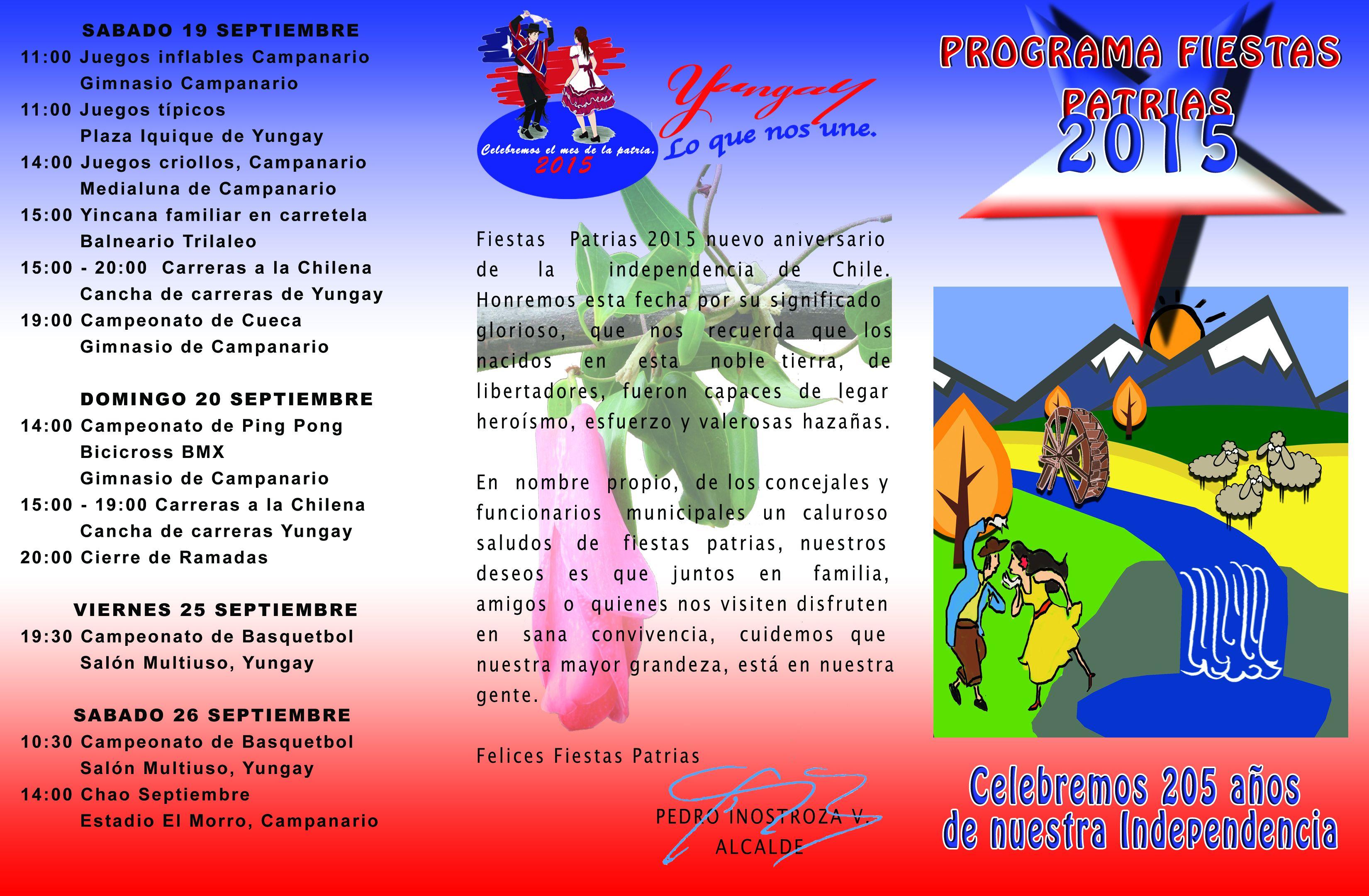 Programa fiestas Patrias 2015 – Yungay
