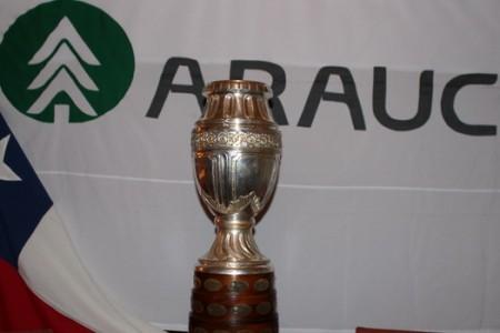 Trabajadores de Arauco Tocaron y Pudieron Fotografiarse con el Trofeo de la Copa América 2015